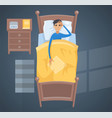 sleeping young man in bed vector image
