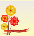 spring background with flowers and ribbon vector image vector image