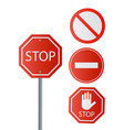 stop signs collection in red and white traffic vector image vector image
