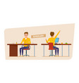 student in university at lecture in classroom vector image vector image