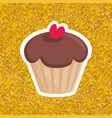 sweet chocolate cupcake with red heart on gold bac vector image