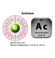Symbol and electron diagram for Actinium vector image vector image
