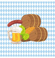 three beer barrels and snacks vector image vector image