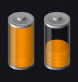 transparent glass battery low charging orange vector image vector image