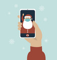video call on screen with santa claus vector image