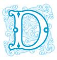 winter vintage letter D vector image vector image
