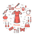 woman accessories concept - red classic dress icon vector image vector image