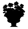Silhouette of blooming flowers in a vase vector image