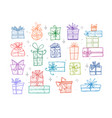 collection of colored doodle sketch christmas gift vector image