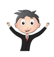 Funny man in suit and tie with hands up vector image