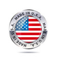metal badge icon made in usa with flag vector image