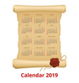 2019 calendar on scroll week starts sunday vector image vector image