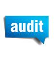 audit blue 3d realistic paper speech bubble vector image