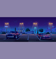 car parking at night city street outdoors park vector image