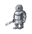 cartoon cold steel medieval knight with broad vector image