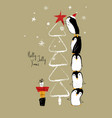 christmas card with penguins and tree vector image vector image