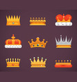 collection of crown awards for winners champions vector image vector image