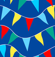 Colored flags on rope in a seamless pattern vector image vector image