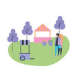couple in the park with trees and booth vector image