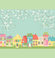 cute cartoon little town with spring blossom vector image vector image