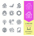 ecology - line icon set editable stroke vector image vector image