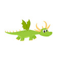 flat cartoon dragon kid with horns wings vector image vector image