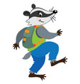 funny badger walking or sneaks with backpack vector image