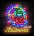 glow halloween greeting card with potion in vector image vector image