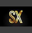 gold alphabet letter sx s x logo combination icon vector image vector image