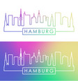 hamburg skyline colorful linear style editable vector image vector image