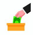 hand put money on donation box flat vector image vector image