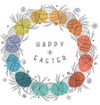 happy easter card with hand drawn ornamental eggs vector image vector image