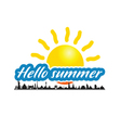 hello summer with ancient monument vector image