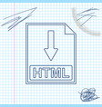 html file document icon download html button line vector image vector image