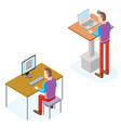 isometric men work with computer and laptop vector image vector image