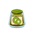 Kiwi Jam In Transparent Jar vector image