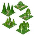 landscape isometric tile set cartoon or game asset vector image vector image