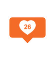 like comment follower icon orange flat with heart vector image