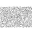 line art doodle cartoon set baobjects vector image