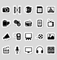 Media icons stickers vector image