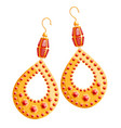 multicolored image golden earrings on a white vector image vector image