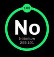 Nobelium chemical element vector image vector image