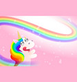 pink background with cute unicorn rainbow vector image vector image