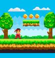 pixel-game ninja male brave character pixelated vector image vector image