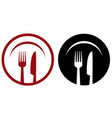 restaurant icons with plate fork and knife vector image