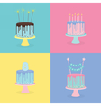 Set of birthday cakes with candles sparklers vector image vector image