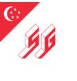 sg - international 2-letter code or national vector image vector image