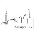 shanghai city one line drawing vector image