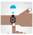 Smart watch on businessman hand vector image vector image