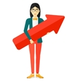 Successful business woman with arrow up vector image vector image